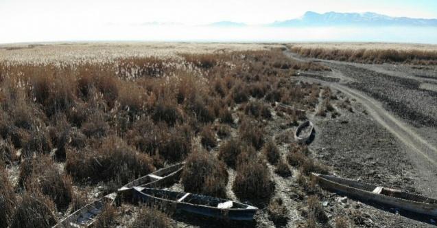 (Özel) Eber Gölü'nde ürkütücü kayık mezarlığı görüntüsü