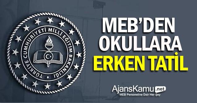 MEB'den Okullara Erken Tatil