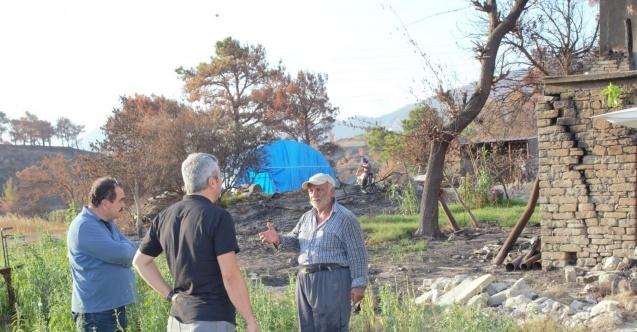 Yangın bölgesinde yaşayan köylülerin ihtiyaçlarını tespit ettiler